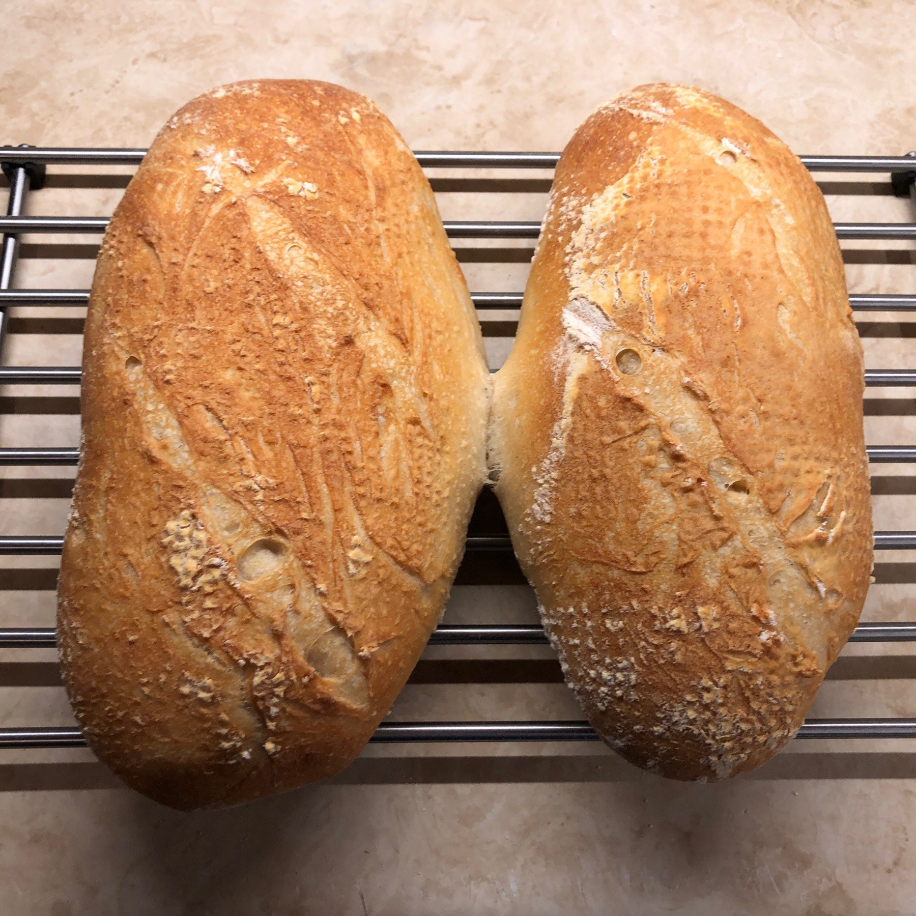 Two loaves of sourdough bread on cooling rack.