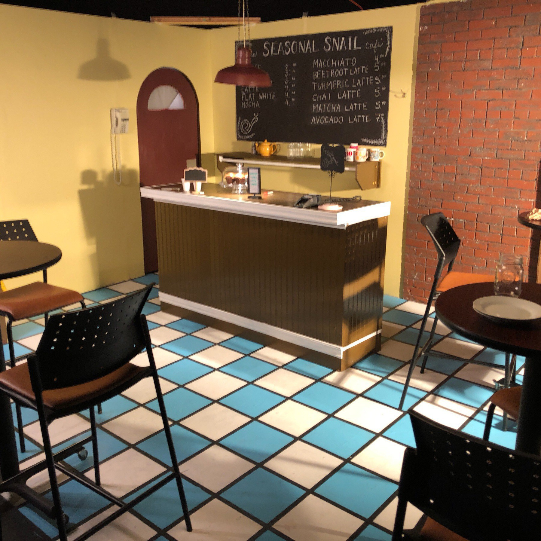 Student film cafe set.