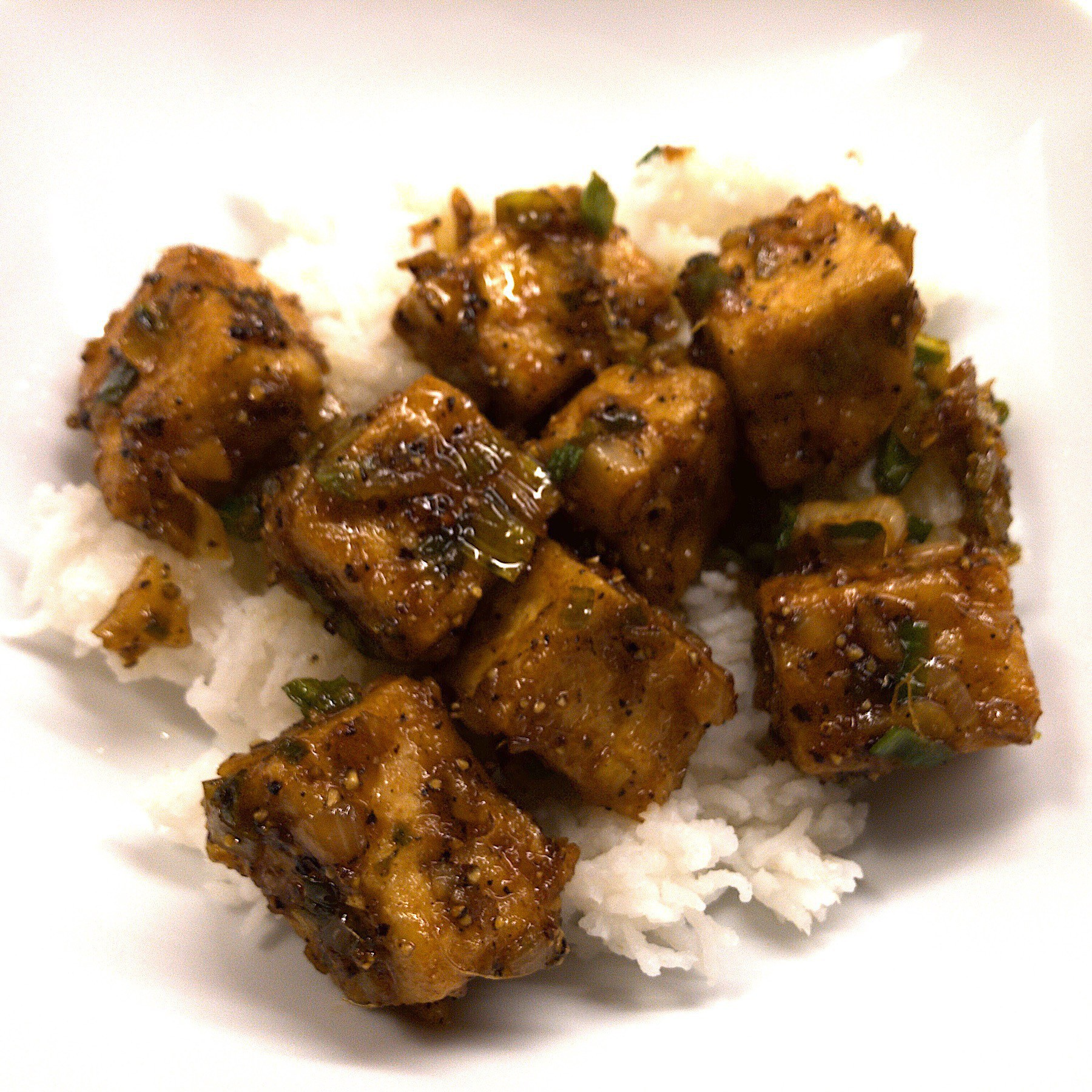 Tofu on basmati rice.