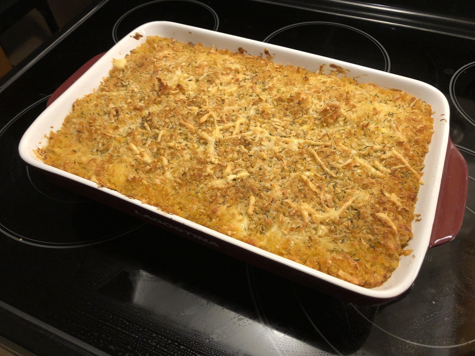 baked macaroni and cheese on stove