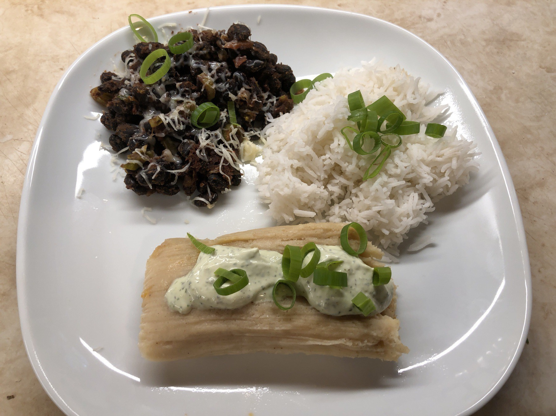 Empanada,black beans, and rice on plate.