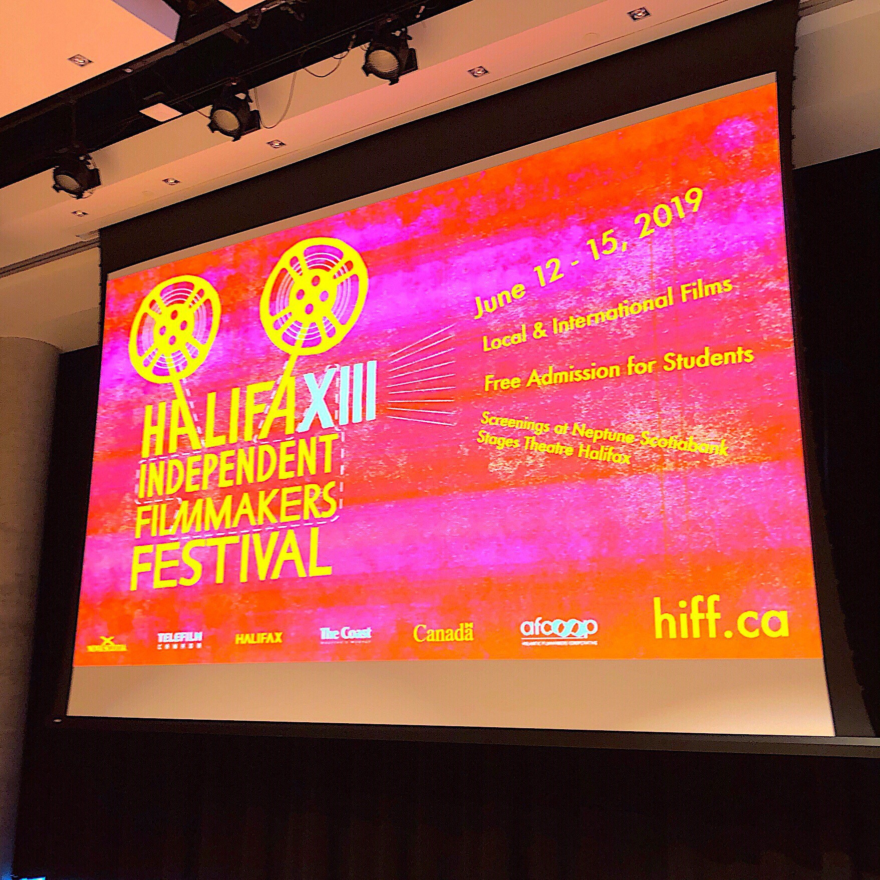 Screen at Halifax Independent Filmmakers Festival launch.