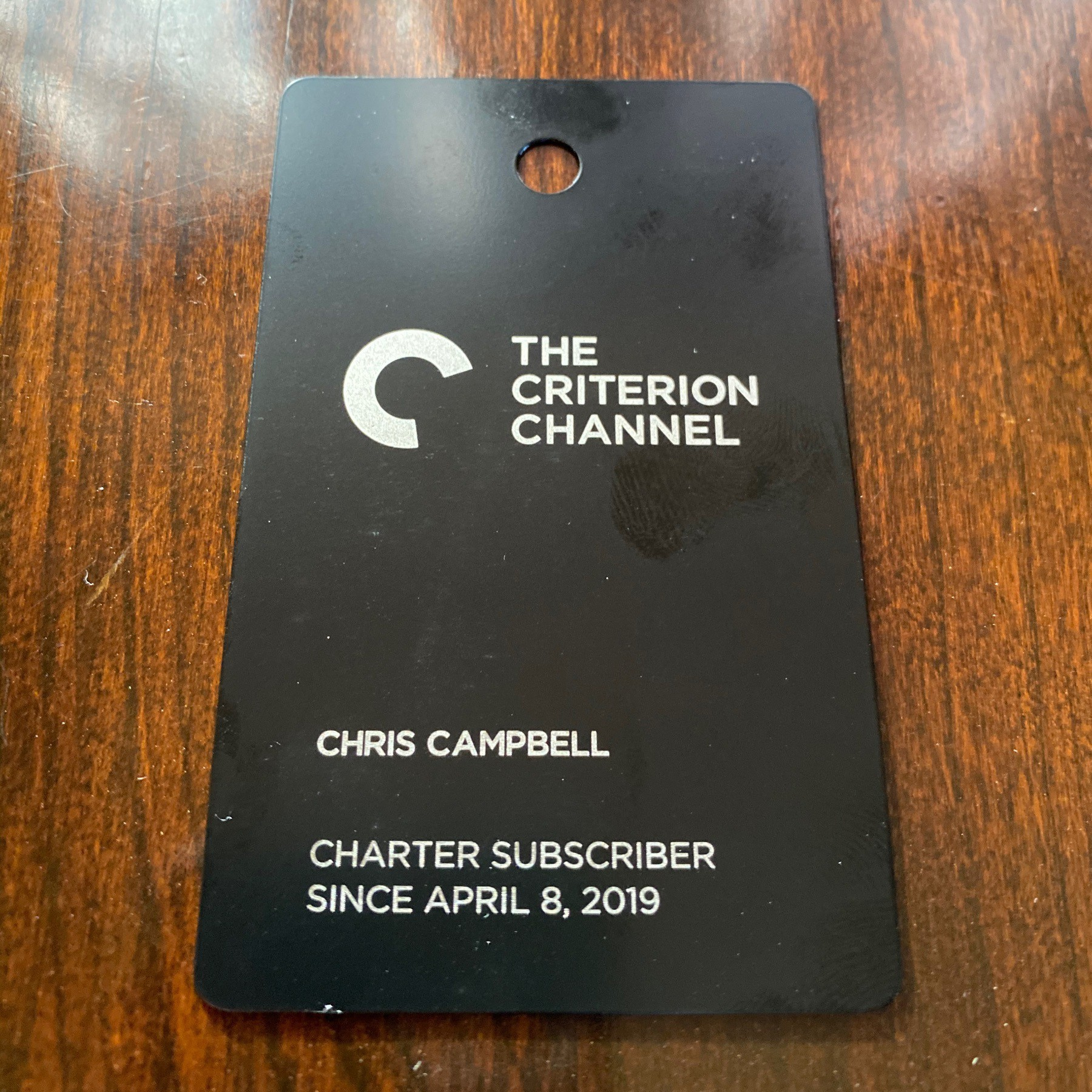 Criterion Channel metal card.
