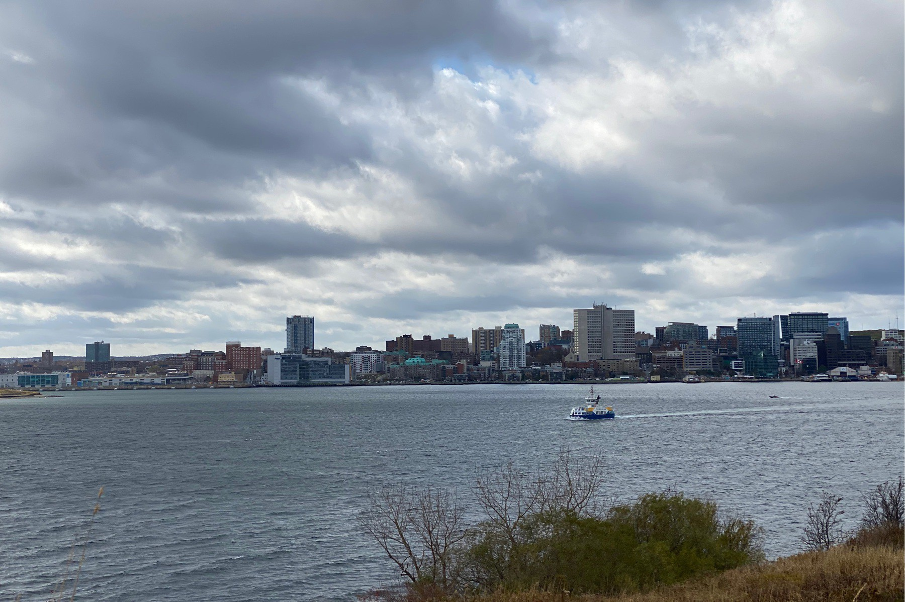 Clouds and ferry in Halifax harbour.