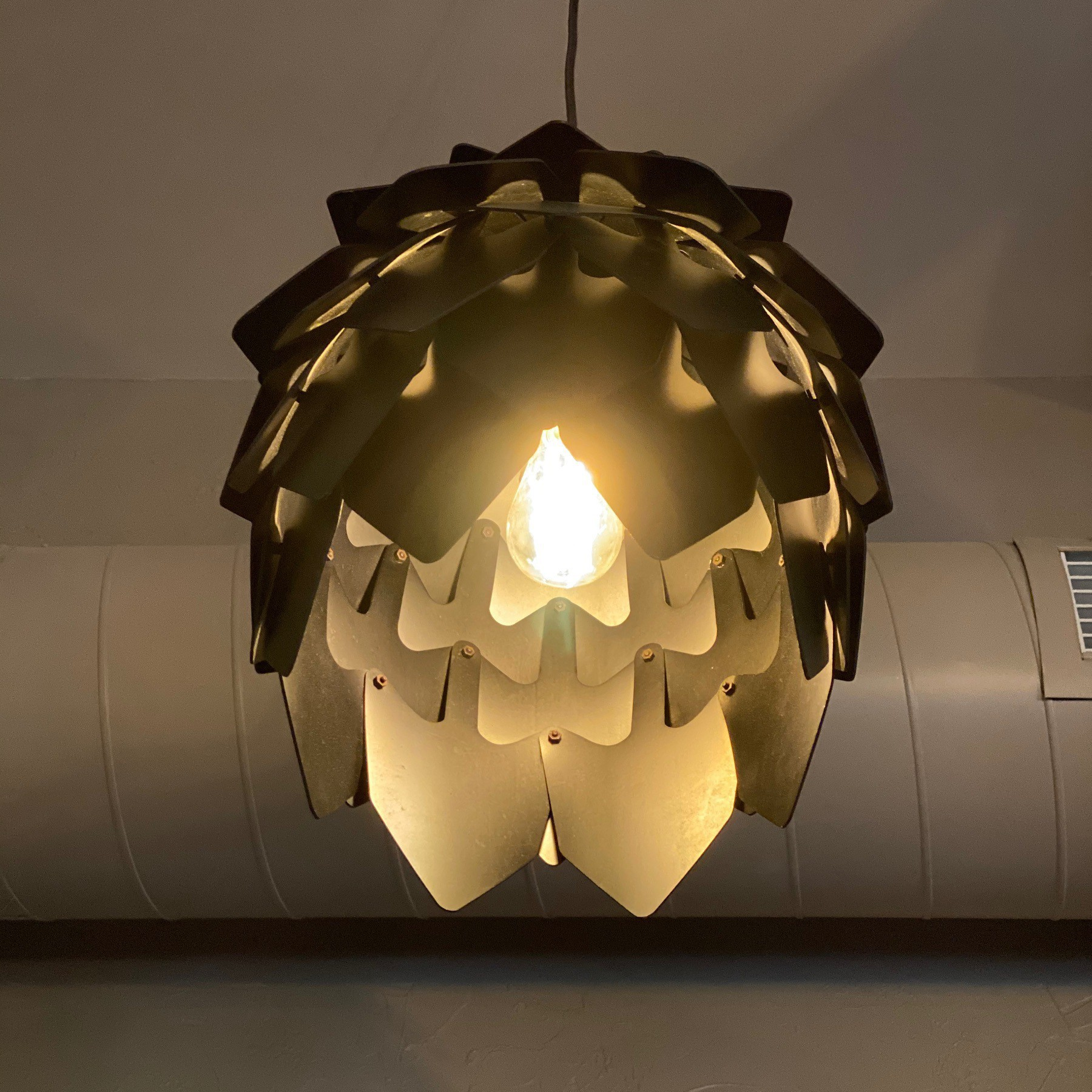 Lampshade in the shape of a hop.