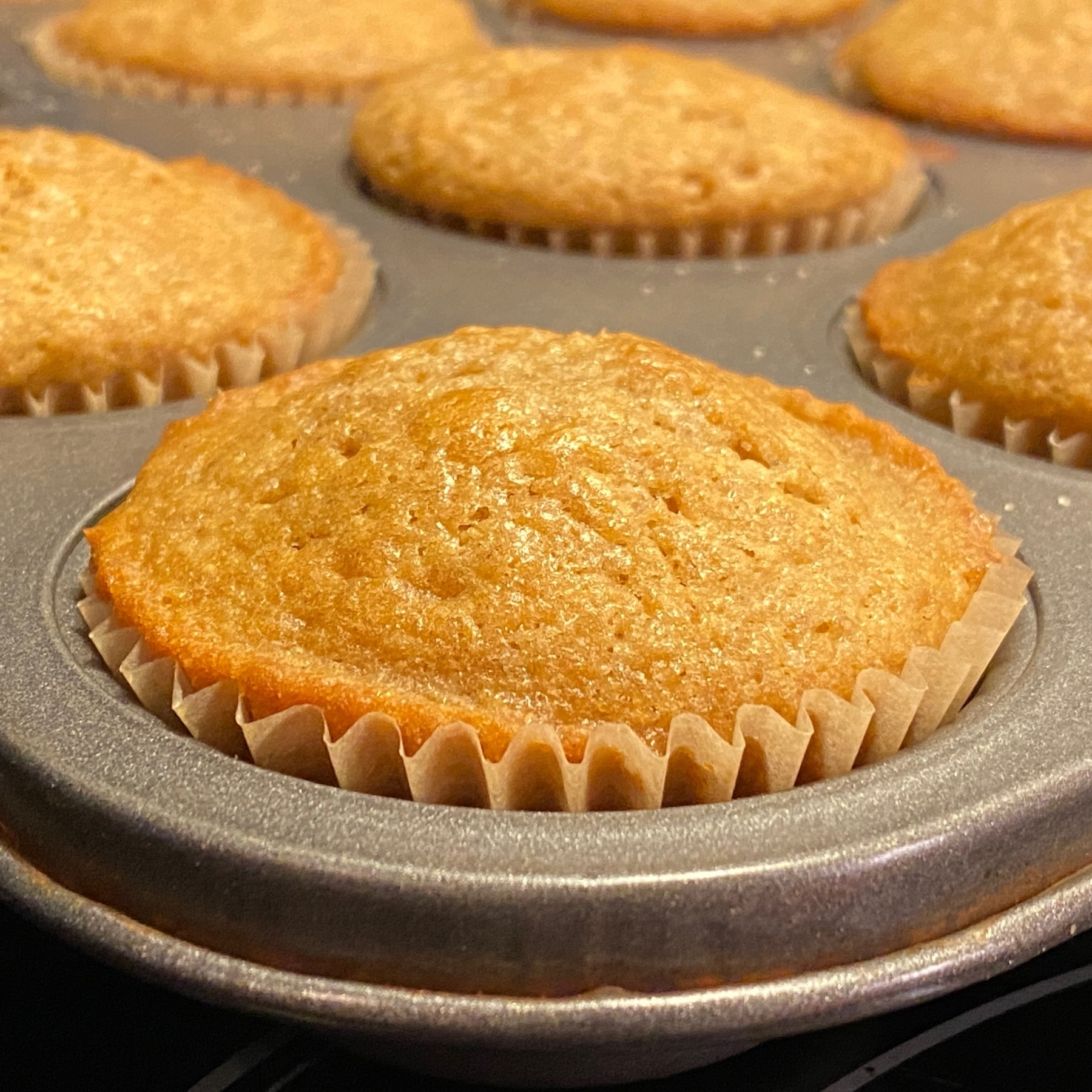 Muffins in pan.