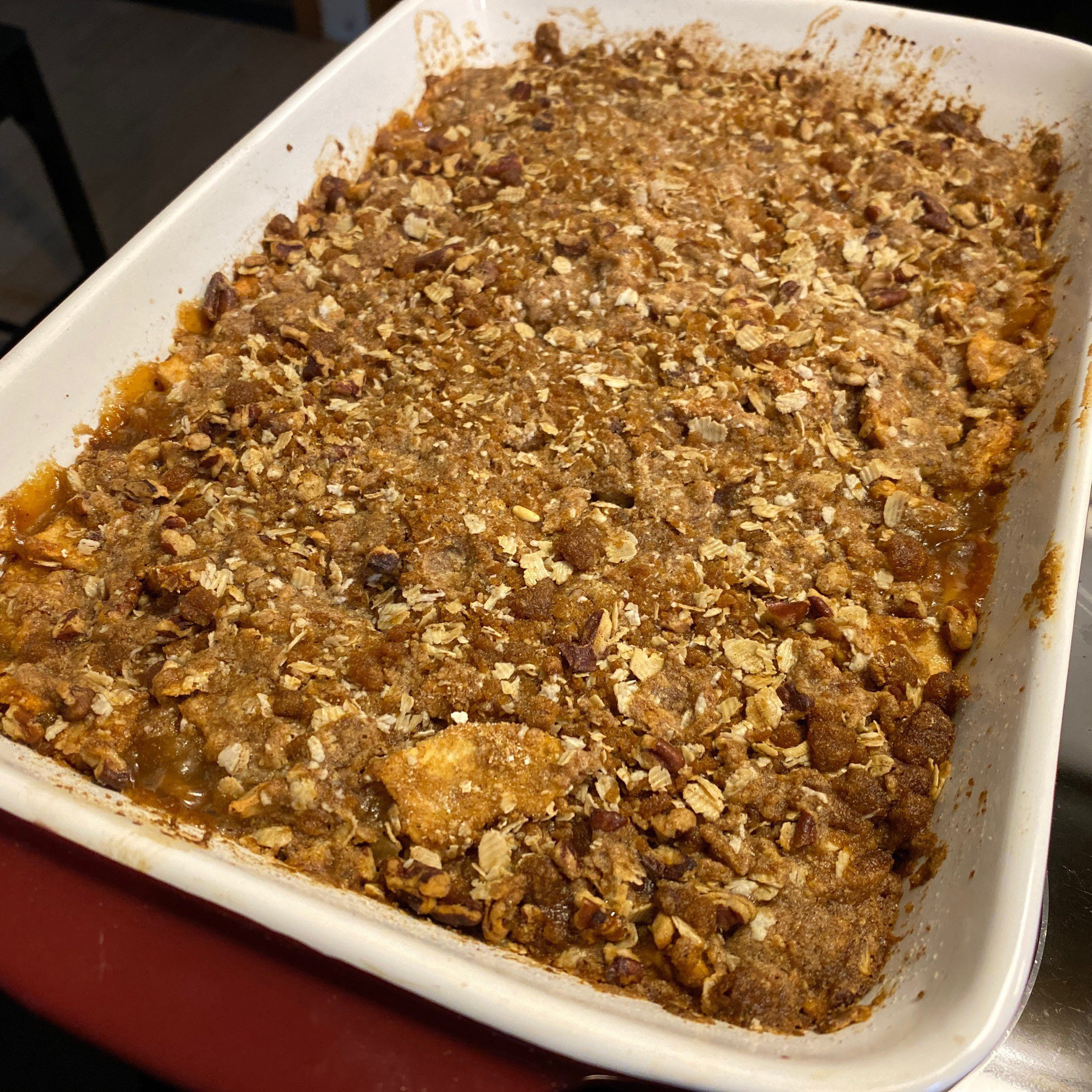 Apple crisp in pan.