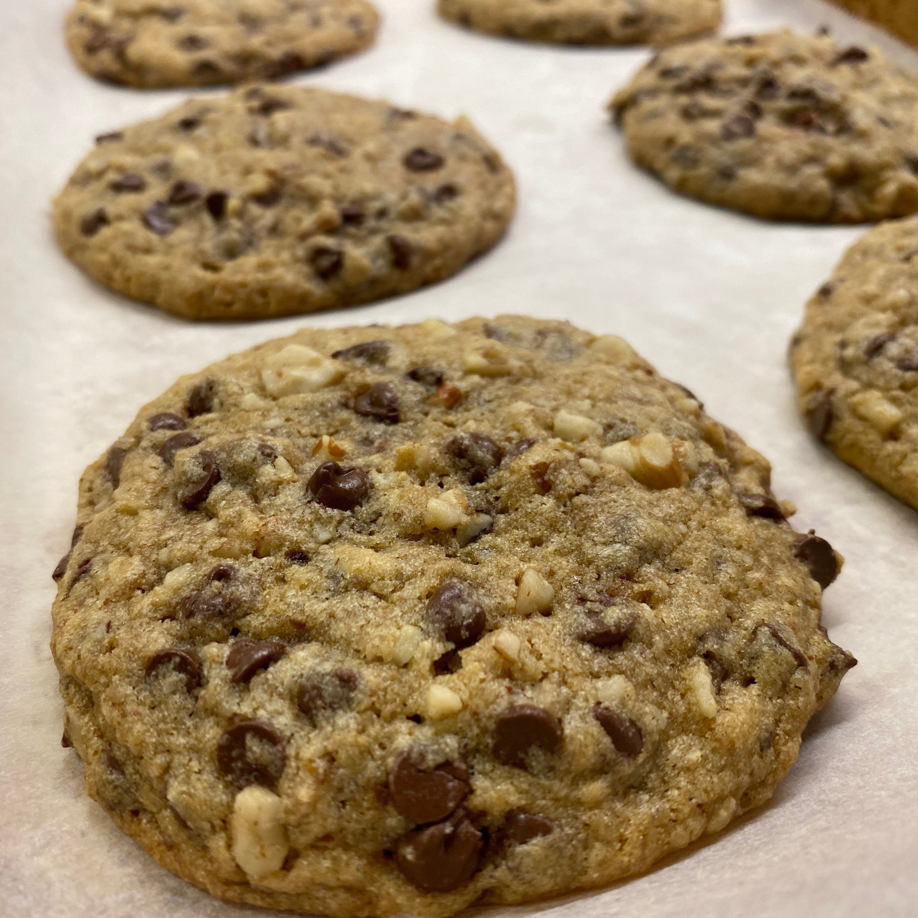 Chocolate chip cookes on baking sheet.