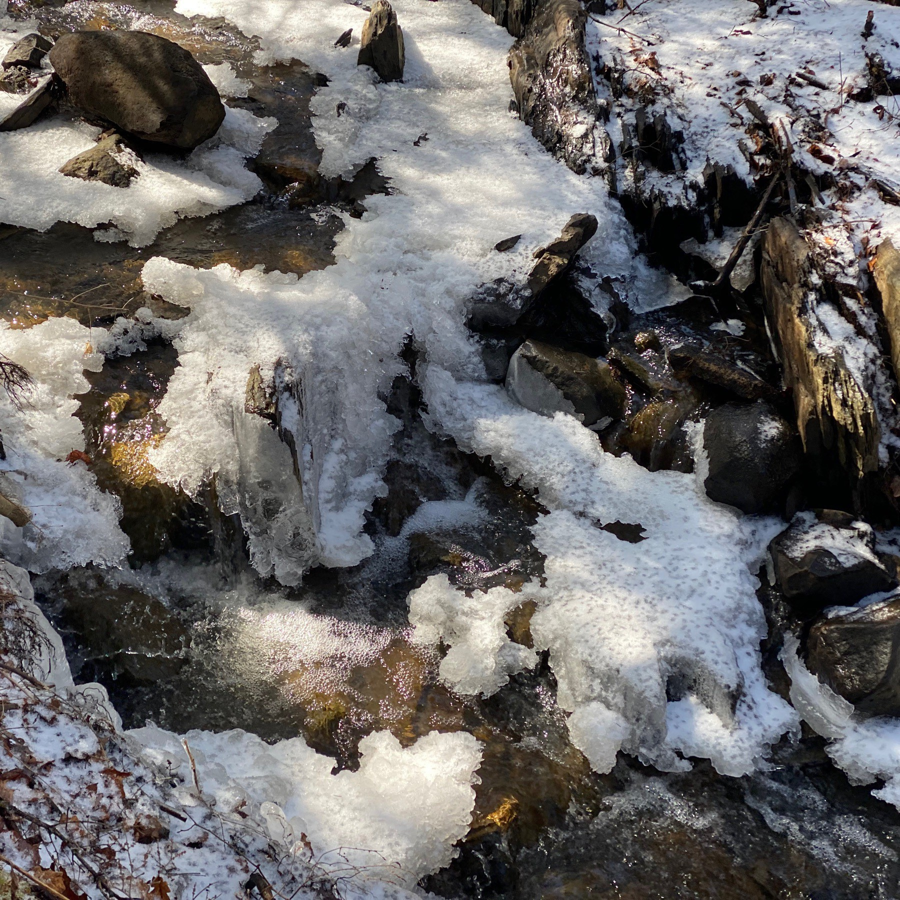 Frozen snow and flowing water in stream.